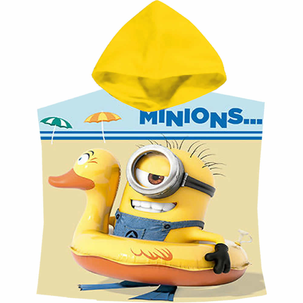 poncho minion minions 2 badeponcho handtuch badehandtuch kinder kapuzenhandtuch ebay. Black Bedroom Furniture Sets. Home Design Ideas
